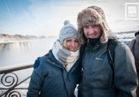 Anne Marie and Daniel wrapped up at Niagara Falls