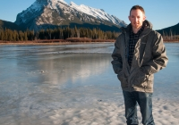Daniel on the shore of frozen Vermillion Lakes