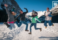 Jumping around on the ice at Lake Louise