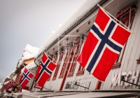 The Norwegian flags were lining Lillehammers Main Street, Storgata