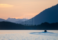 Fishing boat at sunset, Tofino