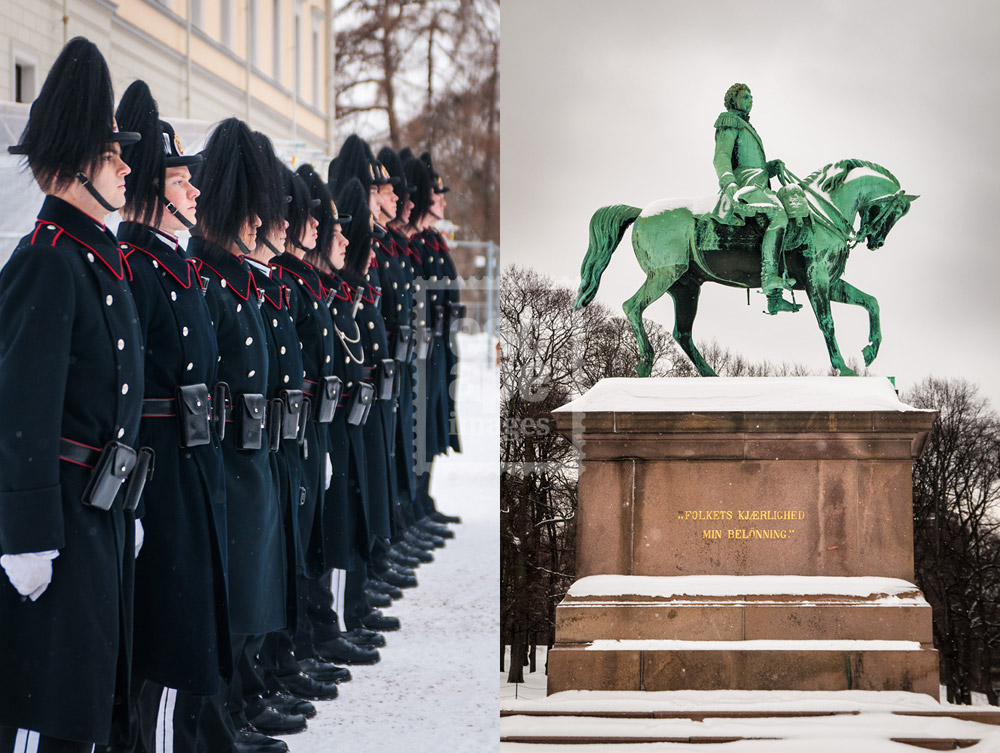 Royal Palace Guardsmen and Karl Johan Statue