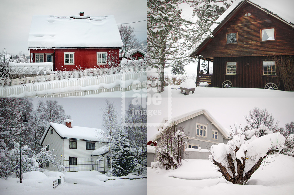Lillehammer houses in the snow